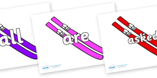 Tricky Words on Skis - Tricky words, DfES Letters and Sounds, Letters and sounds, display, words