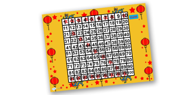 Australia Chinese New Year Math themed PowerPoint Themed 100 Number Square - number square, chinese new year number square, powerpoint, maths
