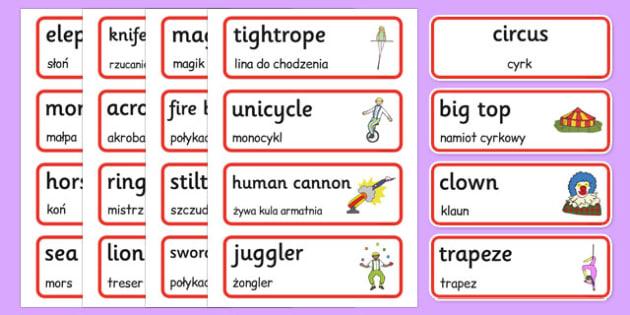 Circus Word Cards Polish Translation - polish, circus, word cards, word, cards, place