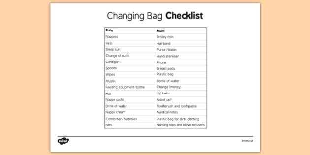 Baby Changing Bag Checklist - baby changing bag, checklist, baby, changing, bag