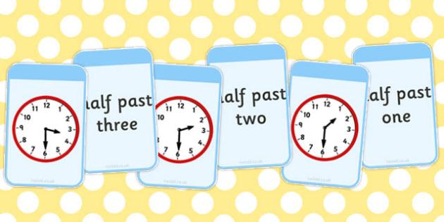 Half Past Matching Flashcards - matching, flashcards, half past