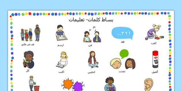 بساط كلمات التعليمات للمستجد في المدرسة عربي