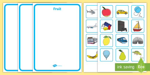 Fruit Toys And Transport Sorting Activity - sort, matching, games