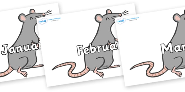 Months of the Year on Mice - Months of the Year, Months poster, Months display, display, poster, frieze, Months, month, January, February, March, April, May, June, July, August, September