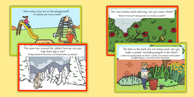 Role Play Challenge Cards to Support Teaching on Percy The Park Keeper Polish Translation - polish, percy the park keeper, role play, challenge cards