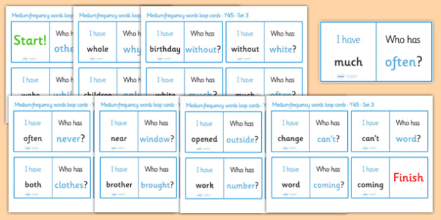 Medium Frequency Words Loop Cards Set 3 (Y4 & Y5) - medium frequency words, loop cards, set, set 3, frequency words, words, medium, Y4, Y5, year 4, year 5, five, four, year, loop cards, cards, flashcards, loop, image