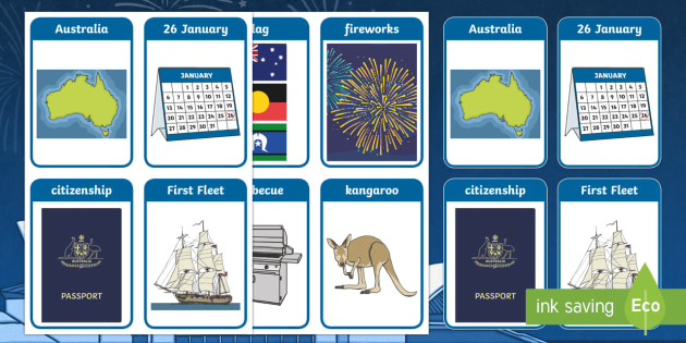 Australia Day Flashcards - australia, flashcards, cards, day