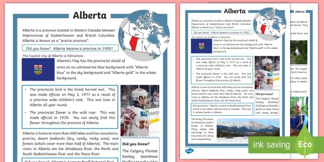 Alberta Fact File - Calgary Stampede Resources, social studies, geography, history, Alberta.