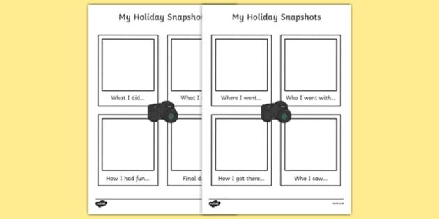 My Holiday Snapshots Writing Frame - my holiday, snapshot, writing frame, writing, frame, holiday