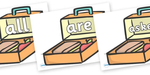 Tricky Words on Lunch Boxes - Tricky words, DfES Letters and Sounds, Letters and sounds, display, words