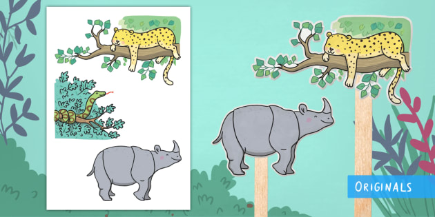 Ronald the Rhino Stick Puppets - Ronald the Rhino, rhyming, pattern, story, jungle, Africa, rhino,