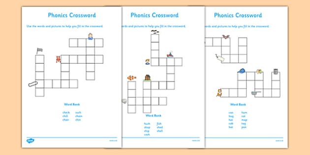 Phase 2 and 3 Phonics Crossword - phonics, crossword, activity, phonics crossword