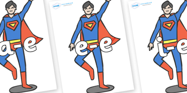 Modifying E Letters on Superheroes (Plain) - Modifying E, letters, modify, Phase 5, Phase five, alternative spellings for phonemes, DfES letters and Sounds