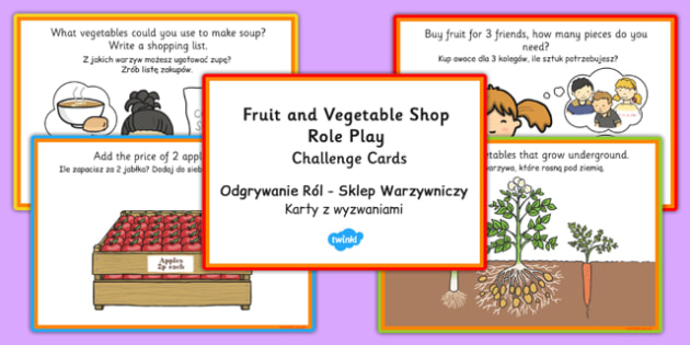 Fruit and Vegetable Shop Role Play Challenge Cards Polish Translation - polish, fruit, vegetable