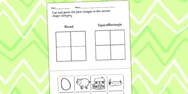 Farm Identifying Shapes Worksheet - on the farm, shapes, numeracy