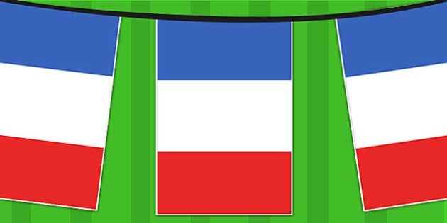 France A4 Flag Bunting - countries, geography, flags, country