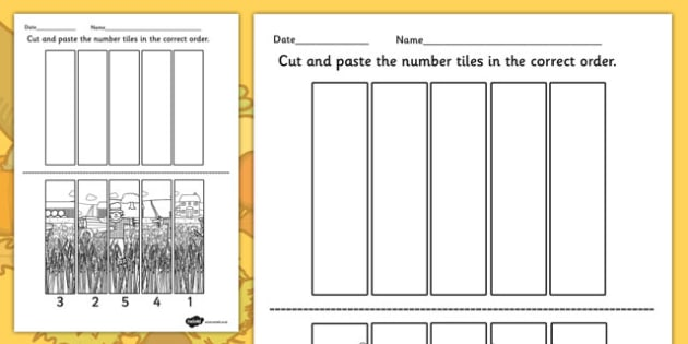 Harvest Number Sequencing Puzzle - autumn, seasons, sequence