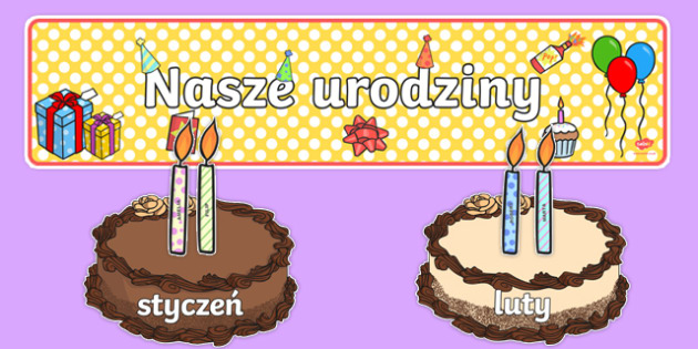 Zestaw do edytowania Nasze urodziny Torty po polsku