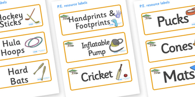 Safari Themed Editable PE Resource Labels - Themed PE label, PE equipment, PE, physical education, PE cupboard, PE, physical development, quoits, cones, bats, balls, Resource Label, Editable Labels, KS1 Labels, Foundation Labels, Foundation Stage Lab