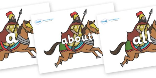 100 High Frequency Words on Egyptian Warriors - High frequency words, hfw, DfES Letters and Sounds, Letters and Sounds, display words