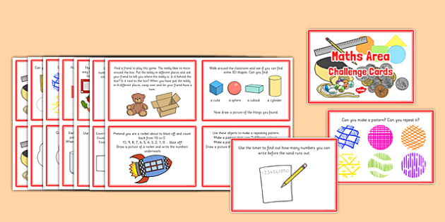 Maths Area Challenge Cards - challenge, cards, maths, area