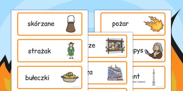 Karty ze słownictwem Wielki pożar Londynu po polsku - szkoła , Polish