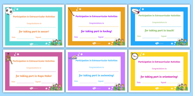 Editable Participation in Extracurricular Activities Certificates- nz, participation, certificates