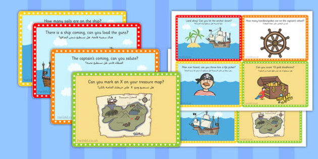 Challenge Cards Pirate Ship Arabic Translation - arabic, pirate