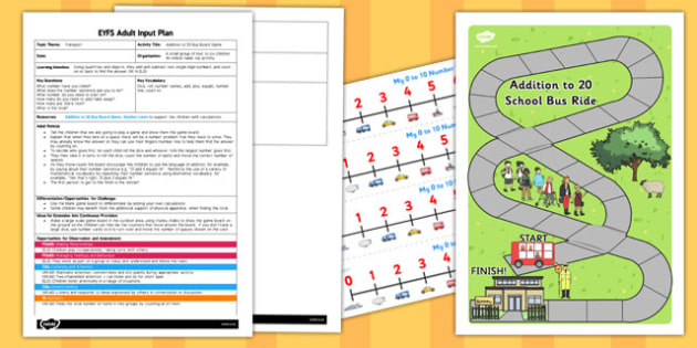 Addition to 20 Bus Board Game EYFS Adult Input Plan and Resource Pack