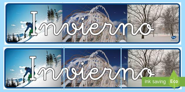 Pancarta: Las cuatro estaciones con fotos - Invierno  - invierno, pancarta, mural, exponer, exposición, decorar, decoración, murales, cartel,Spanish