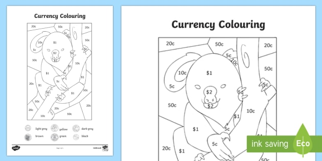 Australian Currency Colouring Page-Australia - Australian currency, Australian coins, Australian money, Australia, coins, koala, dollar, $1, $2