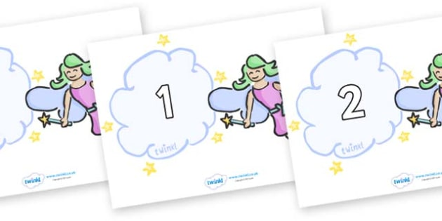 Numbers 0-31 on Fairies - 0-31, foundation stage numeracy, Number recognition, Number flashcards, counting, number frieze, Display numbers, number posters