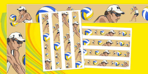 Rio 2016 Olympics Beach Volleyball Display Borders - rio 2016, rio olympics, 2016 olympics, beach volleyball, display borders