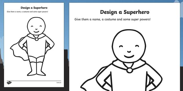Design a Superhero Worksheets - design, desing a superhero, superheroes, worksheets, superhero worksheets, design worksheets, art and design, writing frame