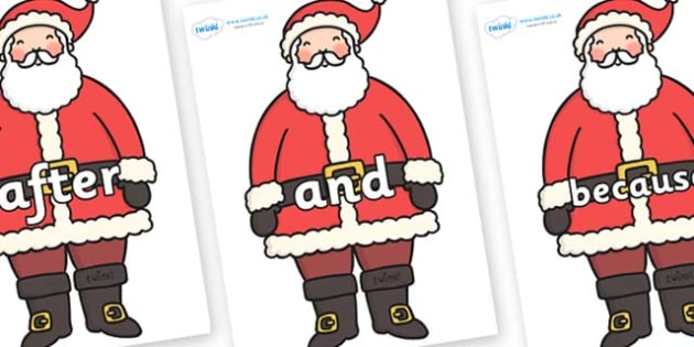 Connectives on Santa - Connectives, VCOP, connective resources, connectives display words, connective displays