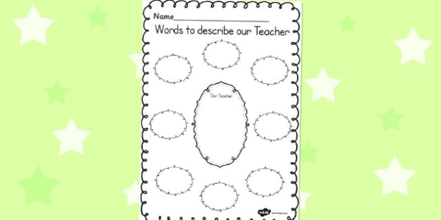Words to Describe Our Teacher Template - words, describe, teacher, template