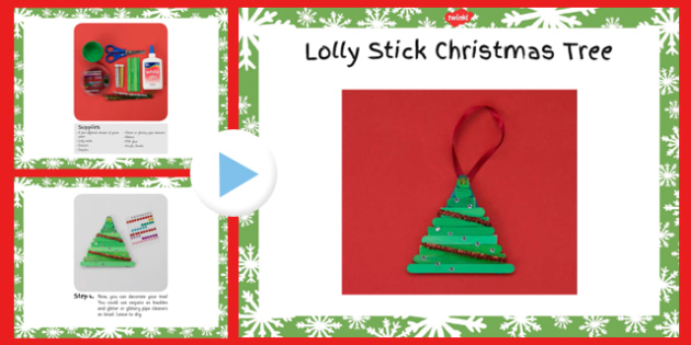Lolly Stick Christmas Tree Craft Instructions PowerPoint - lolly stick, christmas tree, craft, instructions, powerpoint