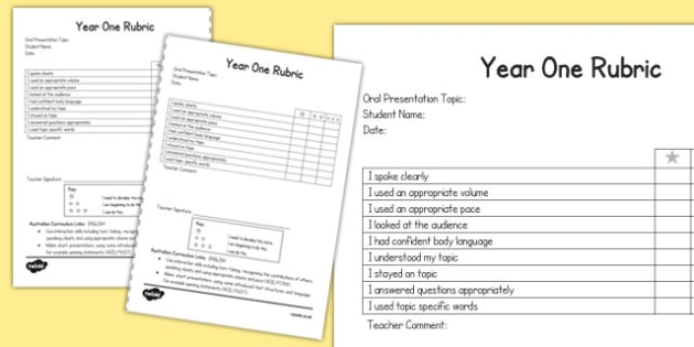 Oral Presentation Rubric Year One - australia, oral, presentation, rubric, year one