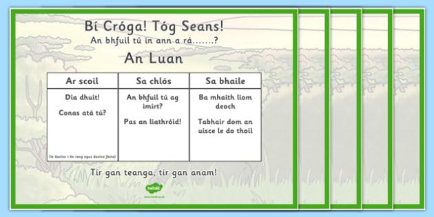 Seachtain na Gaeilge Oral Language Challenges - Irish, Gaeilge, Oral Language , seachtain na gaeilge, display, Irish area
