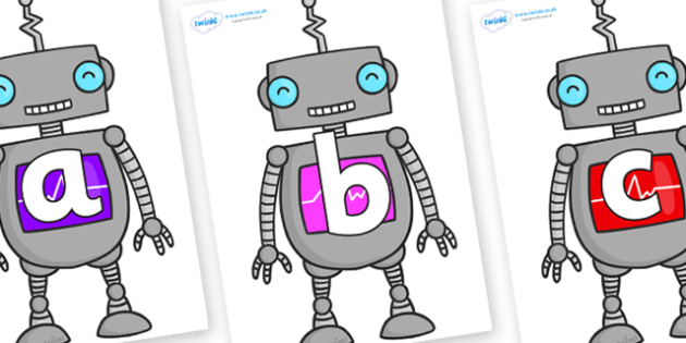 Phoneme Set on Robots - Phoneme set, phonemes, phoneme, Letters and Sounds, DfES, display, Phase 1, Phase 2, Phase 3, Phase 5, Foundation, Literacy