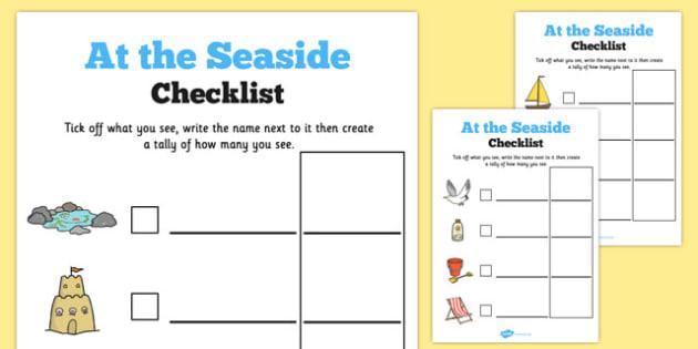 Seaside Trip Checklist - seaside, trip, checklist, activity, seaside trip, worksheet