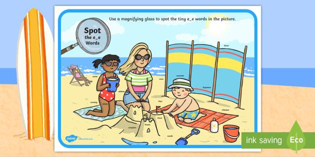 Phase 5 e-e Words Beach Scene Magnifying Glass Activity Sheet