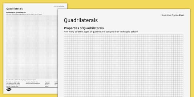 KS3_KS4 Maths Student Led Practice Sheets Properties of Quadrilaterals - maths, KS3, KS4, GCSE, worksheet, practise, independent, growth mindset, shape, 2D, properties, quadrilaterals, square, rectangle, trapezium, parallelogram, kite,