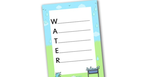Water Acrostic Poem - water, acrostic poem, water acrostic, water poem, acrostic, poems, poetry, national poetry day