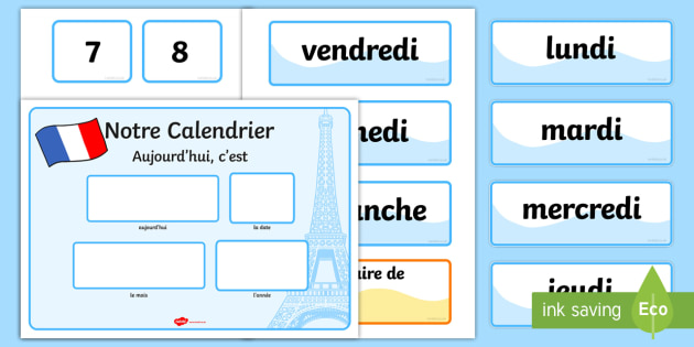 French Calendar - french, calendar, months, days, year, francais, france