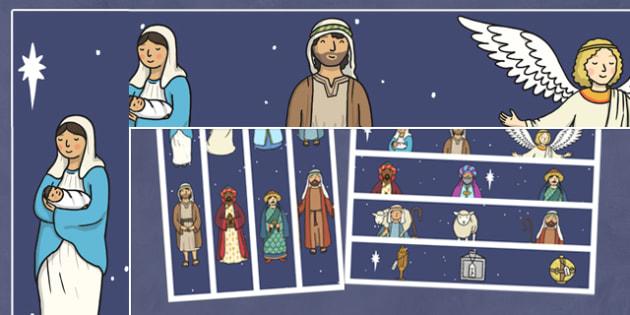 Nativity Display Borders - Nativity, Display border, border, display, Christmas Story, xmas, word card, flashcards, Mary, Joseph, Jesus, shepherd, wise men, Herod, angel, donkey, stable, Gabriel, First Christmas,Inn, Star, God
