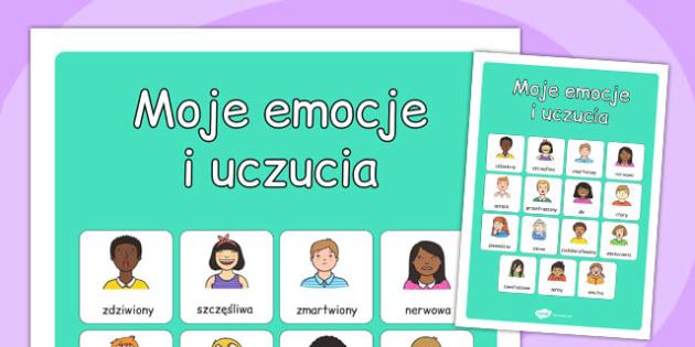 Plakat ze słownictwem Moje uczucia i emocje po polsku - dzieci , Polish