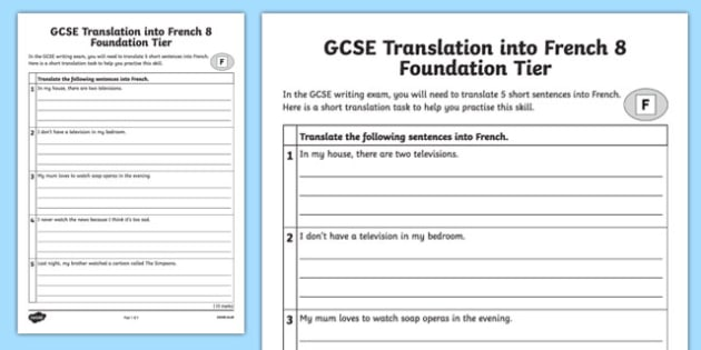 GCSE French: Translation into French - Foundation Tier Activity Sheet 8, worksheet