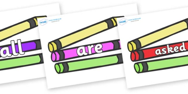 Tricky Words on Crayons - Tricky words, DfES Letters and Sounds, Letters and sounds, display, words