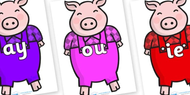 Phase 5 Phonemes on Pigs - Phonemes, phoneme, Phase 5, Phase five, Foundation, Literacy, Letters and Sounds, DfES, display